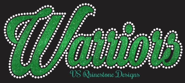 Warriors Cursive Vinyl and Rhinestone Transfer